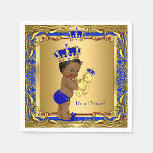 Royal Blue Prince Gold Crown Baby Shower Ethnic Paper Napkin at Zazzle