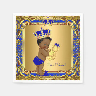 Royal Blue Prince Gold Crown Baby Shower Ethnic Paper Napkin