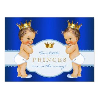Royal Blue Prince Twin Boy Baby Shower Card