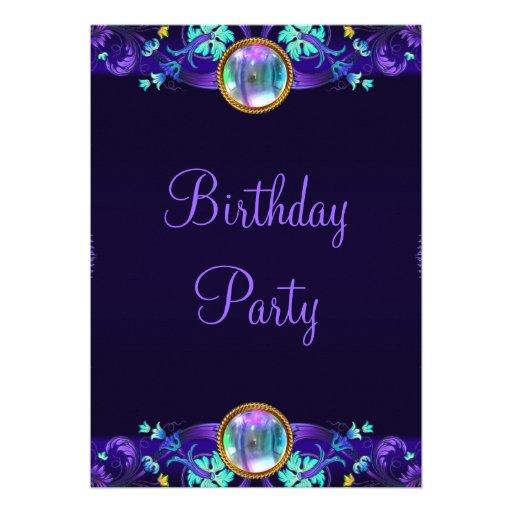 Royal Blue Purple Birthday Party Invitations | Zazzle