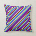 [ Thumbnail: Royal Blue, Purple, Bisque, Maroon & Light Green Throw Pillow ]