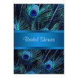 Royal Blue Purple Peacock Bridal Shower 5x7 Paper Invitation Card