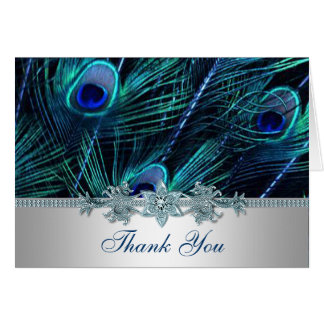 Royal Blue Purple Peacock Feathers Wedding Card