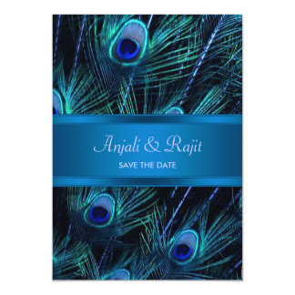 Royal Blue Purple Peacock Feathers Wedding 5x7 Paper Invitation Card