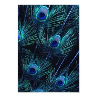 Royal Blue Purple Peacock Feathers Wedding 3.5x5 Paper Invitation Card