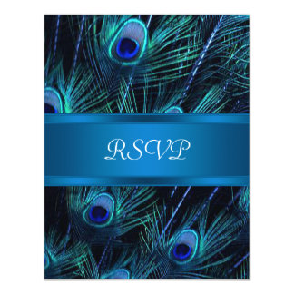 Royal Blue Purple Peacock Feathers Wedding 4.25x5.5 Paper Invitation Card