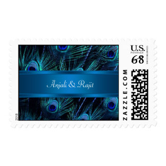 Royal Blue Purple Peacock Feathers Wedding Postage