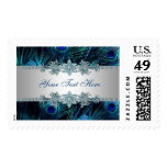 Royal Blue Purple Peacock Feathers Wedding Postage Stamp