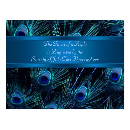 Royal Blue Purple Peacock Feathers Wedding Post Cards