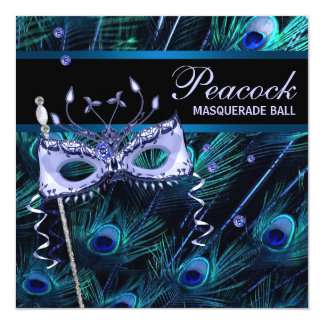 Royal Blue Purple Peacock Masquerade Party Announcement