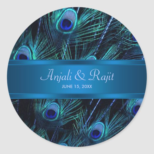 Royal Blue Purple Peacock Wedding Stickers Zazzle Com