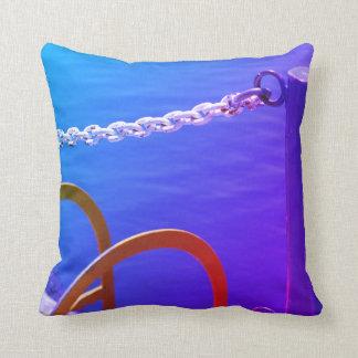 Royal Blue Purple Water White Chain Harbor Cushion