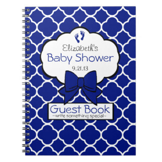 Royal Blue Quatrefoil Baby Shower Guest Book- Notebook