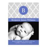 Royal Blue Quatrefoil Monogram Birth Announcements