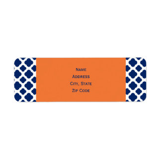 Royal Blue Quatrefoil Pattern with Orange Label