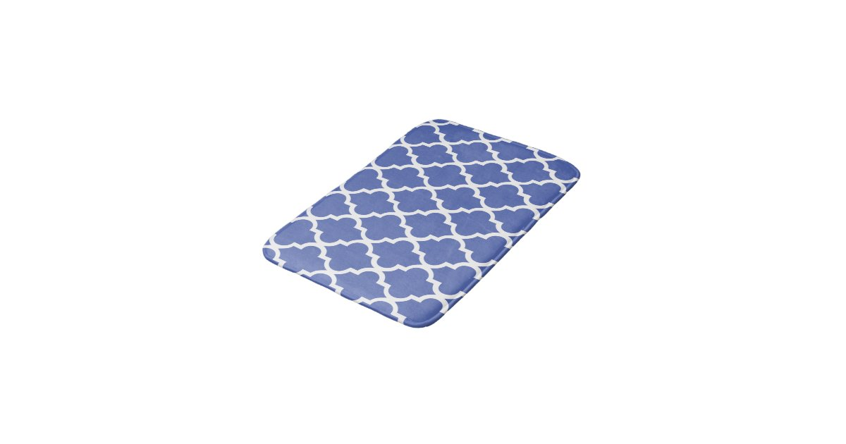 Royal Blue Quatrefoil Tiles Pattern Bathroom Mat Zazzle