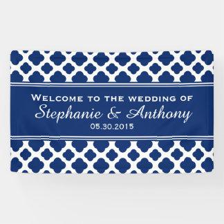 Royal Blue Quatrefoil  Wedding Banner