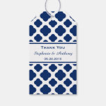 Royal Blue Quatrefoil  Wedding Thank You Pack Of Gift Tags