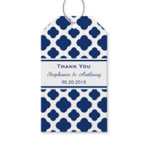 Royal Blue Quatrefoil  Wedding Thank You Gift Tags
