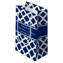 Royal Blue Quatrefoil  Wedding Thank You Small Gift Bag