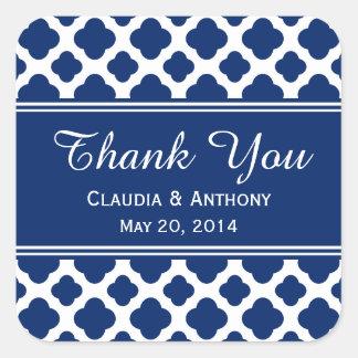 Royal Blue Quatrefoil  Wedding Thank You Square Sticker