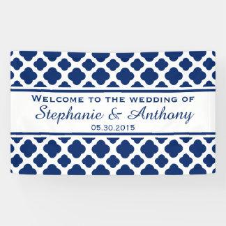 Royal Blue Quatrefoil  Wedding Welcome Banner