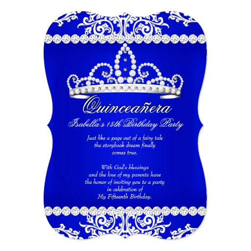 royal blue quinceanera 15th birthday party tiara card
