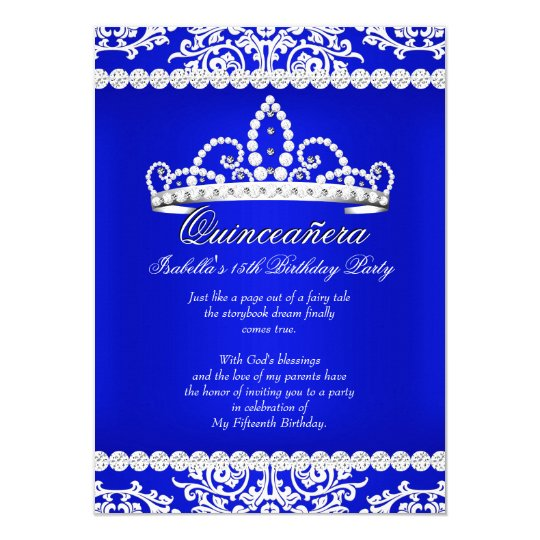 royal blue quinceanera 15th birthday party tiara card - Royal Blue Quinceanera Invitations