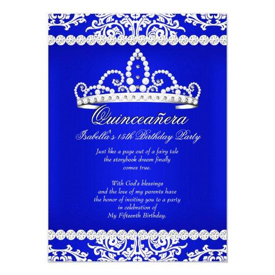 Royal Blue Quinceanera 15th Birthday Party Tiara Card Zazzle Com