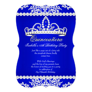 Royal Blue Quinceanera 15th Birthday Party Tiara 5x7 Paper Invitation Card
