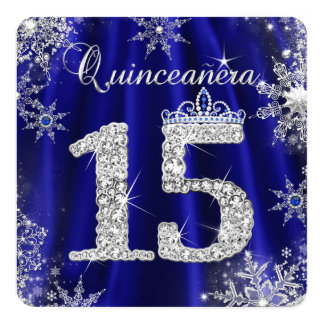 Royal Blue Quinceanera 15th Elite Elegant Birthday Card