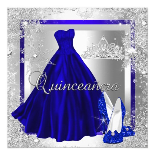 Royal Blue Quinceanera 15th Elite Elegant Birthday Personalized Announcements