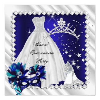 Royal Blue Quinceanera 15th Masquerade Party Card