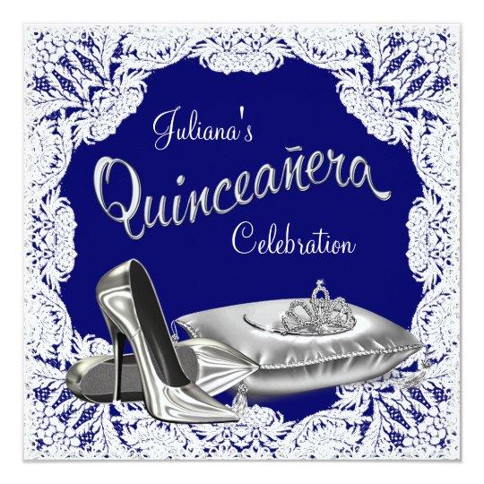 royal blue quinceanera invitation