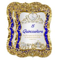 Royal Blue Quinceanera Magical Tiara Gold Card