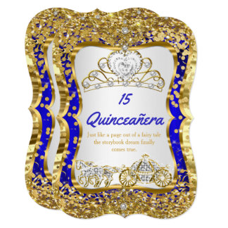 Royal Blue Quinceanera Magical Tiara Gold Card