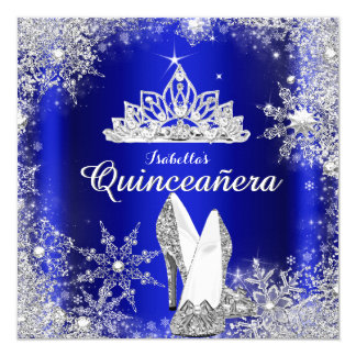Royal Blue Quinceanera Silver Tiara 15th Birthday Card