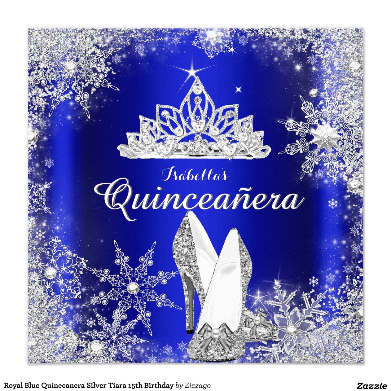 royal blue quinceanera silver tiara 15th birthday