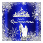 Royal Blue Quinceanera Silver Tiara 15th Birthday 5.25x5.25 Square Paper Invitation Card