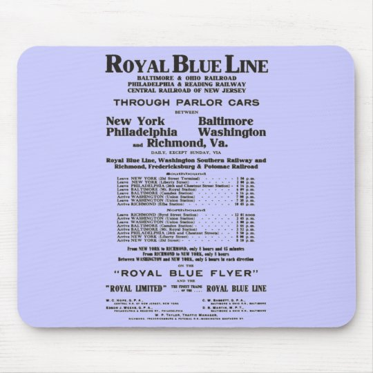 Royal Blue Railroad Line 1908 Mouse Pad