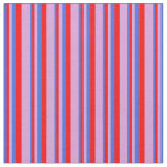 [ Thumbnail: Royal Blue, Red, and Plum Colored Stripes Pattern Fabric ]