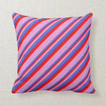 [ Thumbnail: Royal Blue, Red, and Plum Colored Stripes Pattern Throw Pillow ]