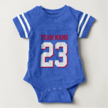 Royal Blue Red Baby Football Jersey Sports Romper