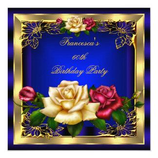 Royal Blue Red Cream Roses Gold Elegant Birthday 7 Invitation