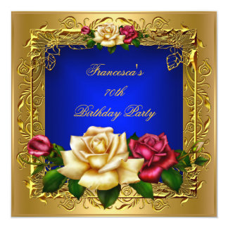 Royal Blue Red Cream Roses Gold Elegant Birthday B Custom Invites