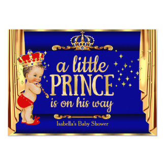 Royal Blue Red Drapes Prince Baby Shower Card