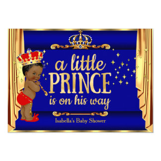 Royal Blue Red Drapes Prince Baby Shower Ethnic Card
