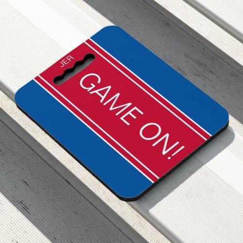 Royal Blue  Red GAME ON Monogram Stadium Sports Seat Cushion