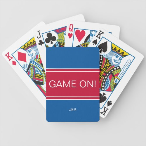Royal Blue  Red GAME ON Quote Custom Monogrammed Bicycle Playing Cards