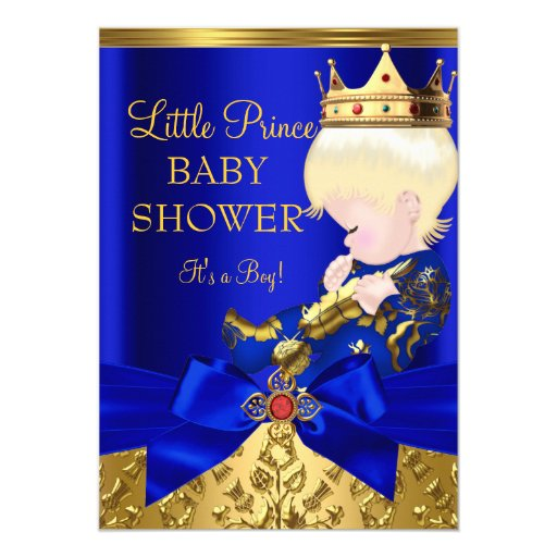 royal blue red gold prince boy baby shower blonde 5x7 paper invitation